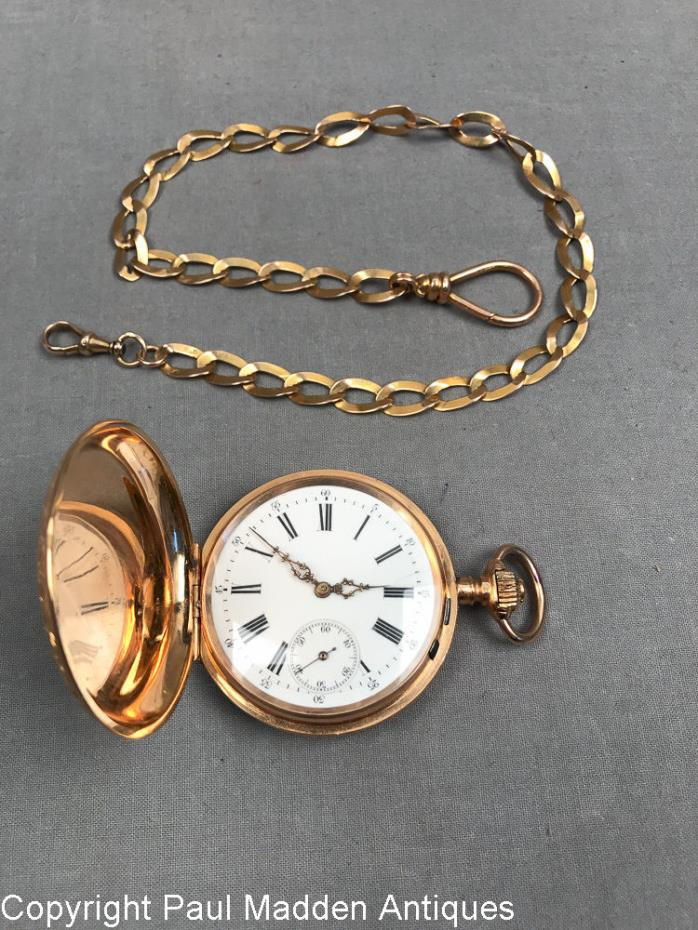 Antique Swiss Remontoir 14K Pocket Watch 19 Jewels with 15