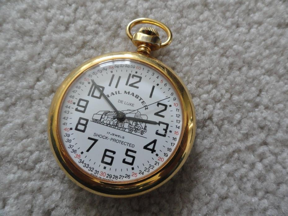 Made in France Rail Master DeLuxe 17 Jewels Shock Protected Wind Up Pocket Watch