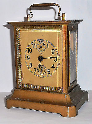 ANTIQUE JUNGHANS GERMAN MUSICAL CARRIAGE CLOCK WITH ALARM WORKING