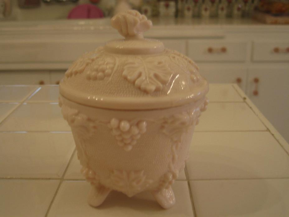 Vintage Jeannette Glass Shell Pink Milk Glass Footed Candy Dish Lid Grape Vine