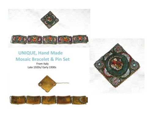EXCEPTIONAL Italian Micro-Mosaic Bracelet AND Pin Italy 1920s-1930's