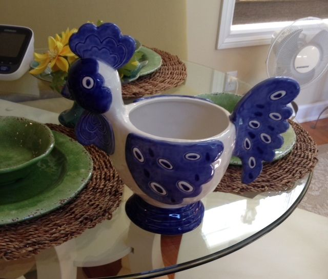 Rooster Decorative Bowl Provincial Blue Kitchen Centerpiece Home Decor Planter