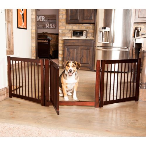 Pet Gate Indoor Dog Gate Baby Safety Fence with Door 24-Inch Wood Barrier New
