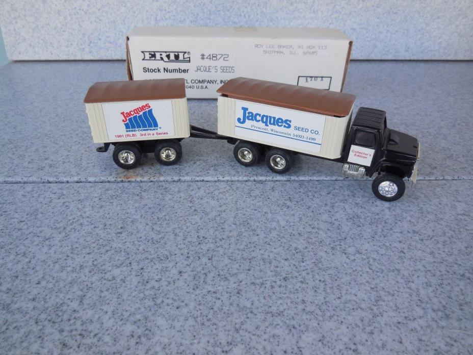 NEW OLD STOCK / ERTL 1/64 SCALE JACQUES SEEDS GRAIN TRUCK WITH PUP TRAILER 4872
