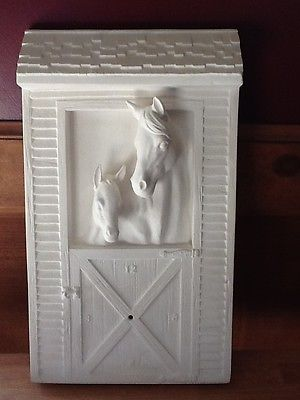 C-0601 Ceramic Bisque Pair of Horses in a Barn Wall mounted clock