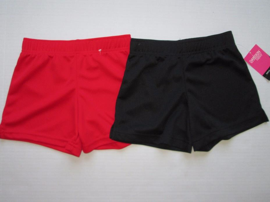 NWT Danskin Now lot of 2 Girl's red black Sport Athletic Shorts sz 4 sz 5 New