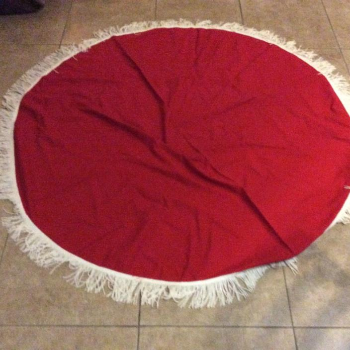 Vintage valentines RED tablecloth Round White fringe 64 in