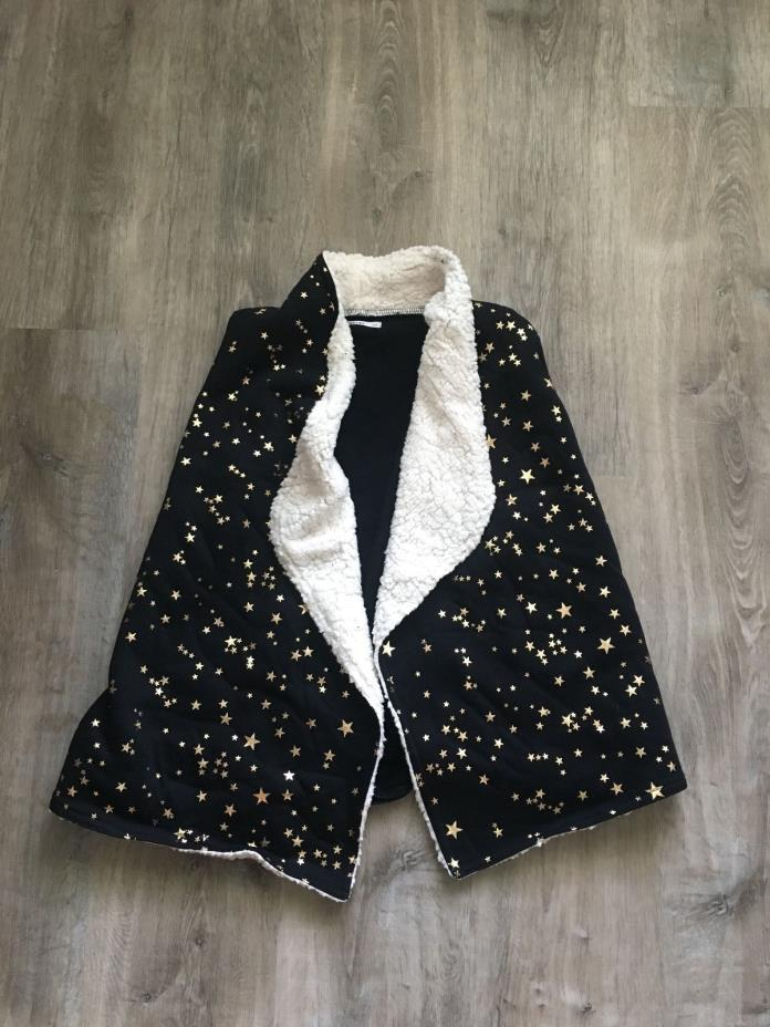 NWT Epic Threads Girls Star Vest with Faux Fur Trim Size Large Color Black