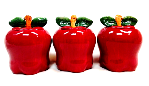 New Tuscany Red Apple Ceramic 3-Piece Canister Set 6-1/4 87402 Kitchen Storage