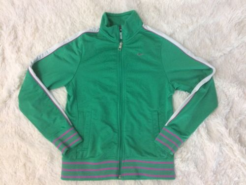 Nike Girls Track Jacket Green With White And Purple Stripes Size L