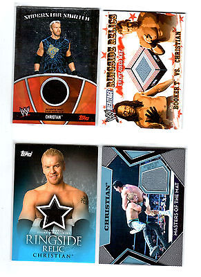 WWE Lot of 4 Christian Event Used Shirt & Mat Topps Relic Cards