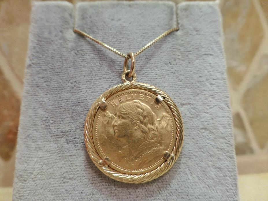 Antique vintage 1908 Swiss 20 francs Helvetia gold coin 18k yellow gold pendant