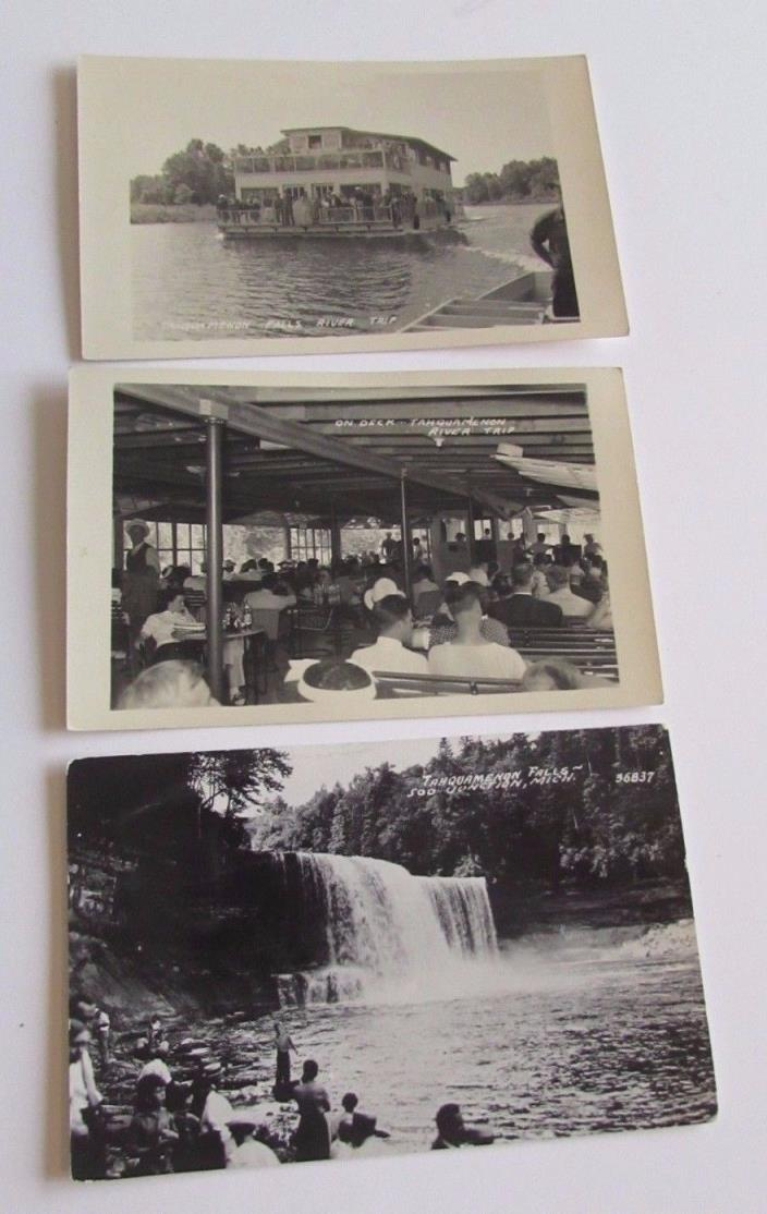3 Vtg Tahquamenon Falls River Boat Postcards Real Photo Michigan