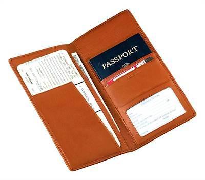 Leather Passport Wallet w Travel Ticket Holder& ID Window Pocket [ID 21732]