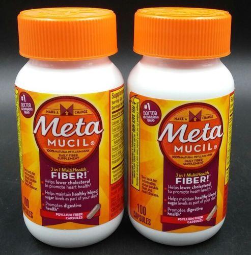 Metamucil Multi Health Fiber Capsules by Meta, 100 Count (Pack of 2)