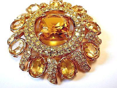 Signed  Swarovski Pin Brooch Gold Plated Bezel Set Topaz & Citrine Crystals (D)