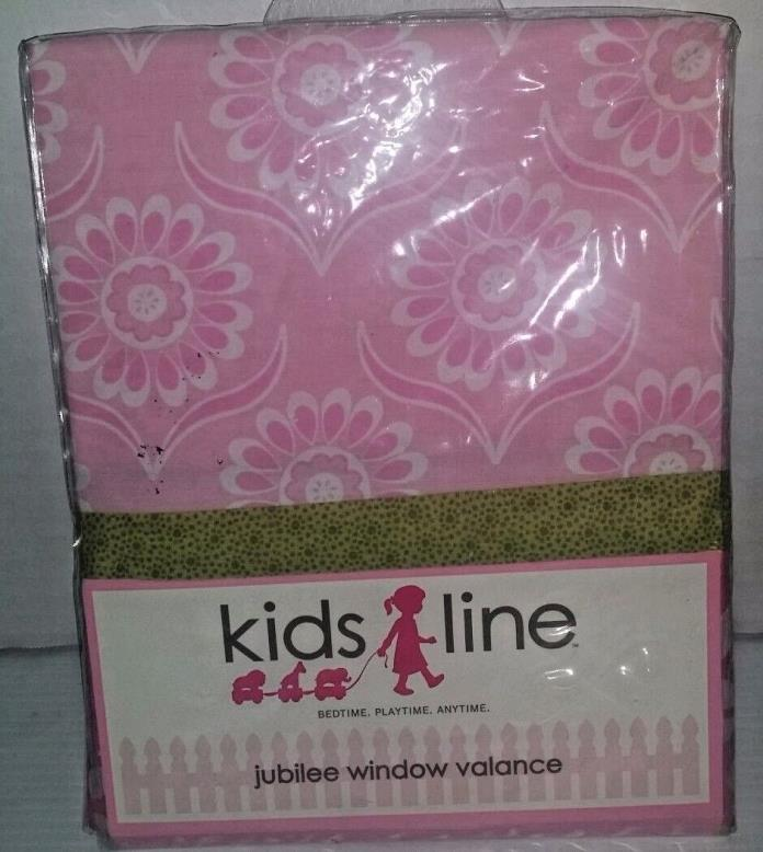 KidsLine Baby Girl Jubilee Two Tone Pink Floral Green Window Valance 60 x 14 NIP