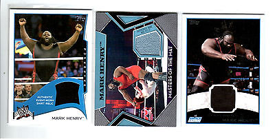WWE Lot of 3 Mark Henry Event Used Shirt & Mat Topps Relic Cards