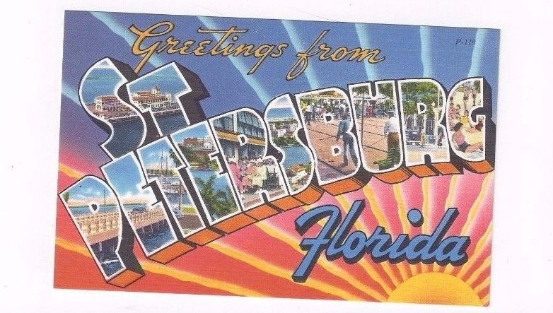 FL St Petersburg Florida antique linen post card BIG LETTERS Greetings from....