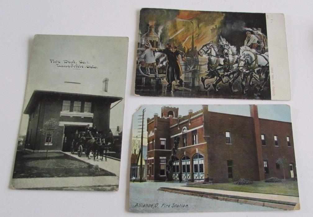 Antique Fire Station Ohio Postcards Alliance Zanesville Horse Drawn Fire Engine
