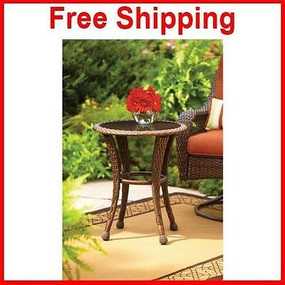 Side Outdoor Table Stand End Patio Poly Home And Gardens Furniture Brown Lounge