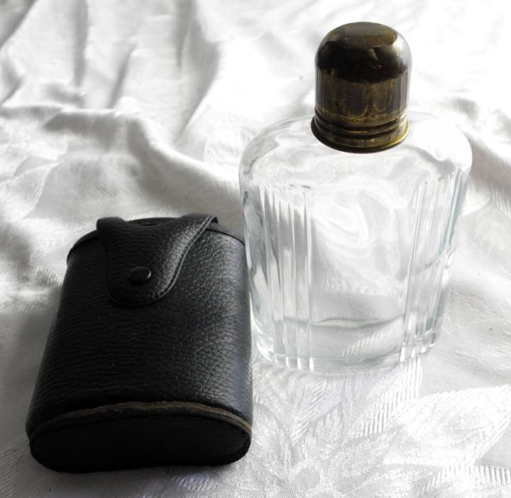 Black Leather Flask Holder with Glass Bottle - Shot Glass Cap