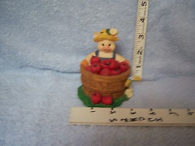 Pig in basket trinket with Box 1996 Young's Inc. (China)