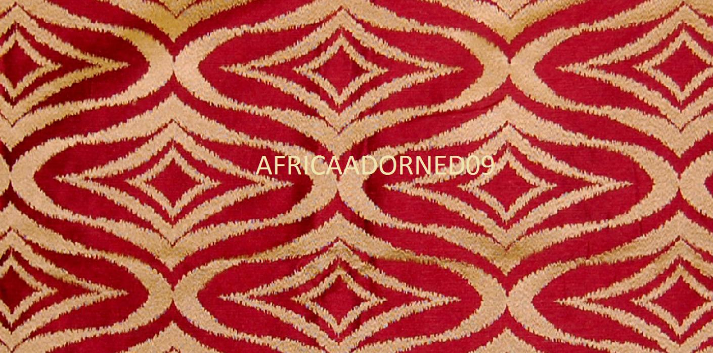 CONTEMPORARY DIAMOND EXOTIC RED GOLD EMBROIDERED IKAT UPGOLSTERY FABRIC 10 YARDS