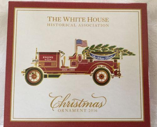 White House Christmas Ornament 2016 Herbert Hoover 1929 Fire Engine / Truck