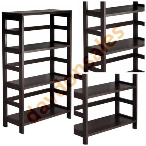 Storage Shelves Unit Wood Wide Standing Basket Ladder Frame Level Rack Display