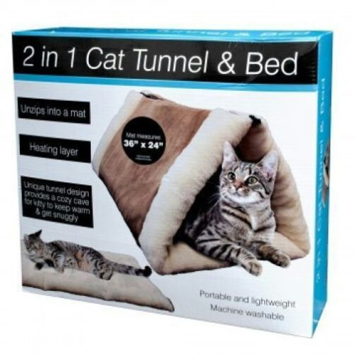 2 in 1 cat tunnel and bed with heating layer