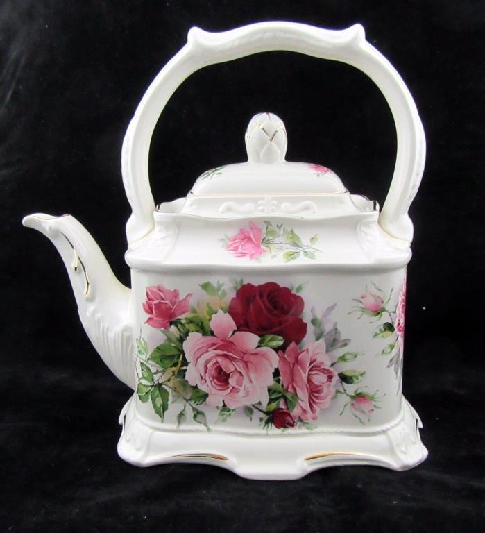 Crown Dorset Teapot Staffordshire England Rose Pattern