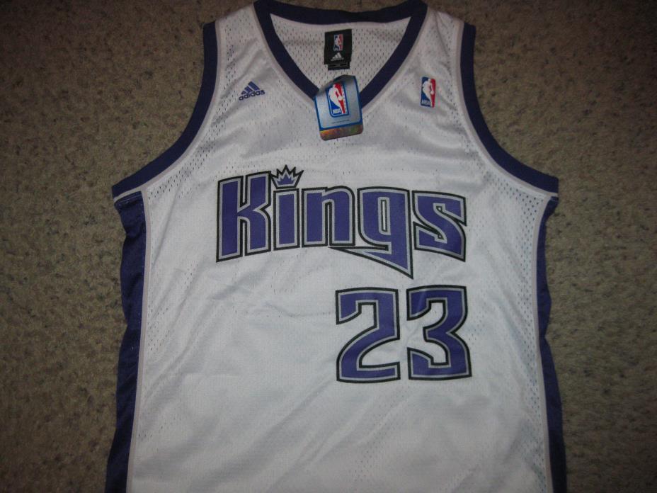 NWT Sacramento Kings Kevin Martin Adidas NBA Basketball Jersey Sewn L Team White