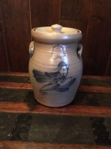 Rowe Pottery - Salt Glaze Blue Bird Crock w/ Lid - 11