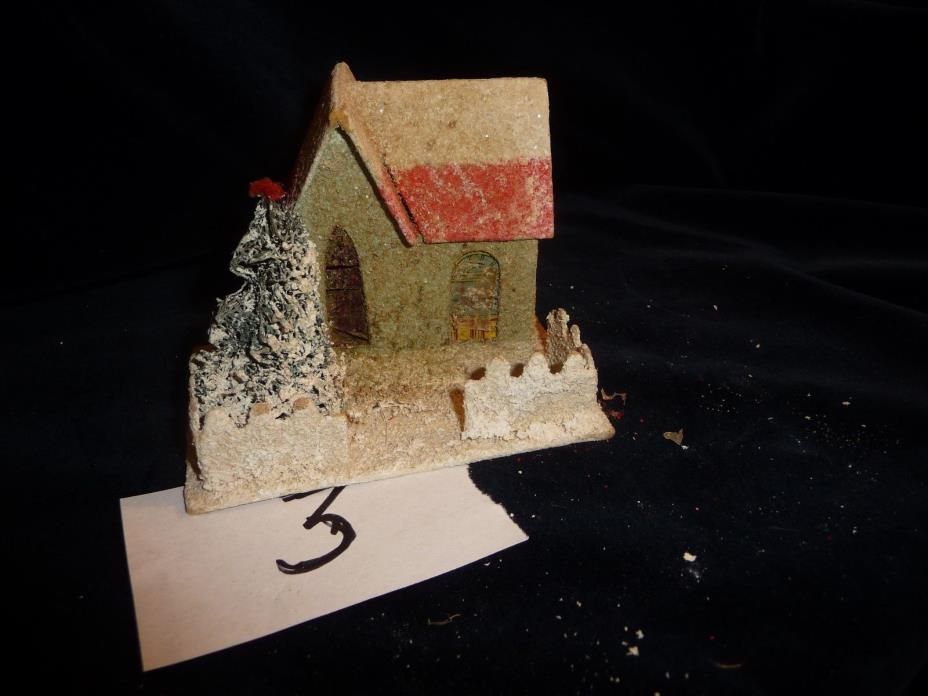 #45/3 vtg Christmas village CARDBOARD HOUSE 4