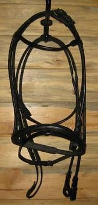 Rolled black leather bridle -silver buckles english dressage