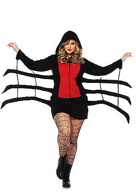 Cozy Black Widow Plus Women Costume Zipper Hood Fleece Dress Spider Leg 1X/2X