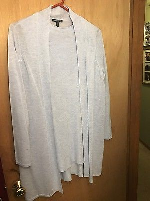 Eileen Fisher Petite  Merino Wool blue cardigan and matching top-new- size PL