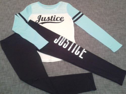 NWT Justice girls size 18 JUSTICE logo TEE and ATHLETIC LEGGINGS New