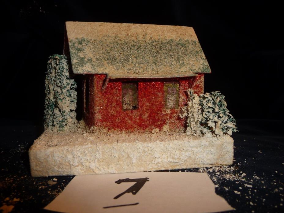 #45/7 vtg Christmas village CARDBOARD HOUSE 5