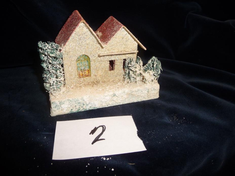 #45/2 vtg Christmas village CARDBOARD HOUSE 5