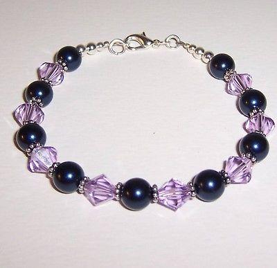 REDUCED Lavender Swarovski Crystals and Pearls Bracelet