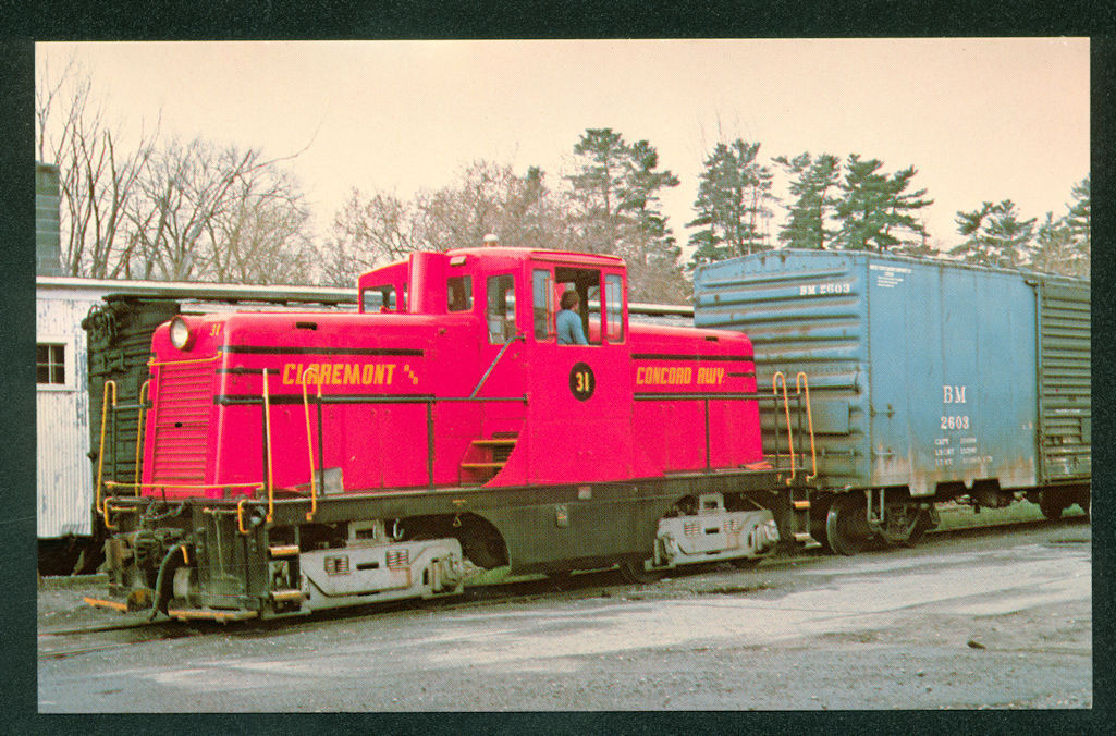 Claremont and Concord Railway NH GENERAL ELECTRIC Engine Train Railroad Postcard