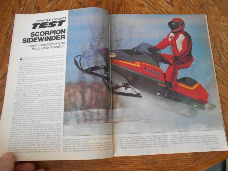 Vintage SNOWMOBILE MAGAZINE 1981 Scorpion Sidewinder Suzuki 440 LC John Deere 81