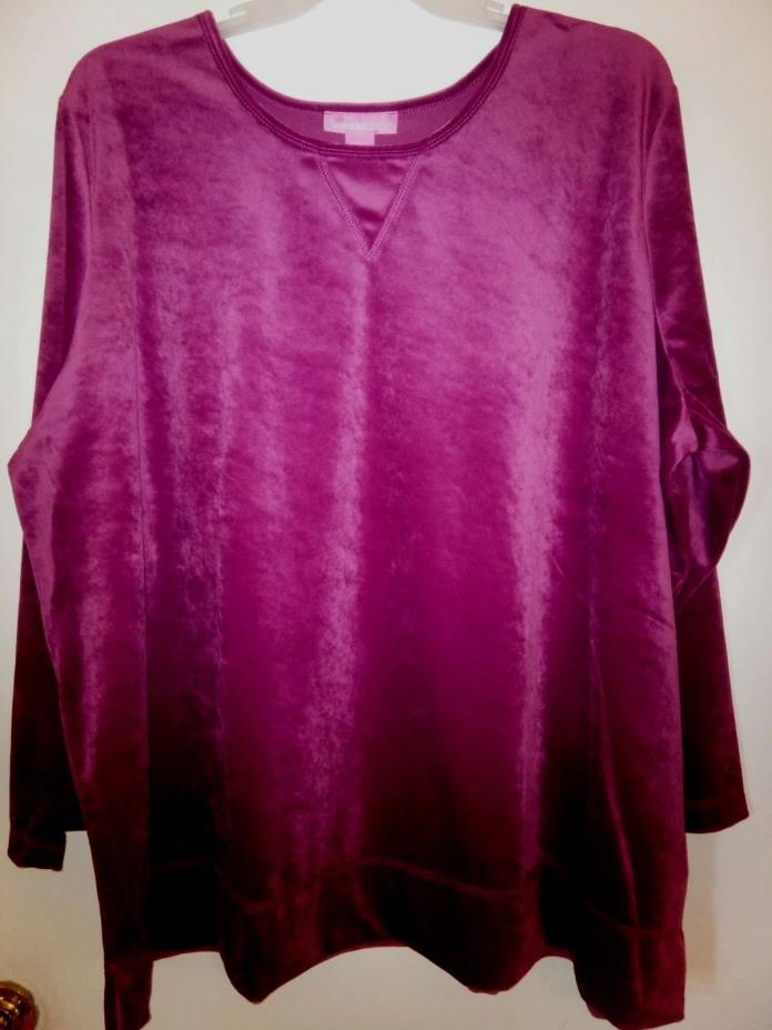 Womens plus size 3X, 5X,  30W/32W Velour tunic top blouse burgundy red