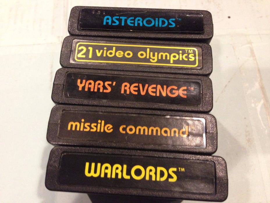 5 Atari Game Cartridges: Asteroids, Warlords, Missile Command, Yards' Revenge,