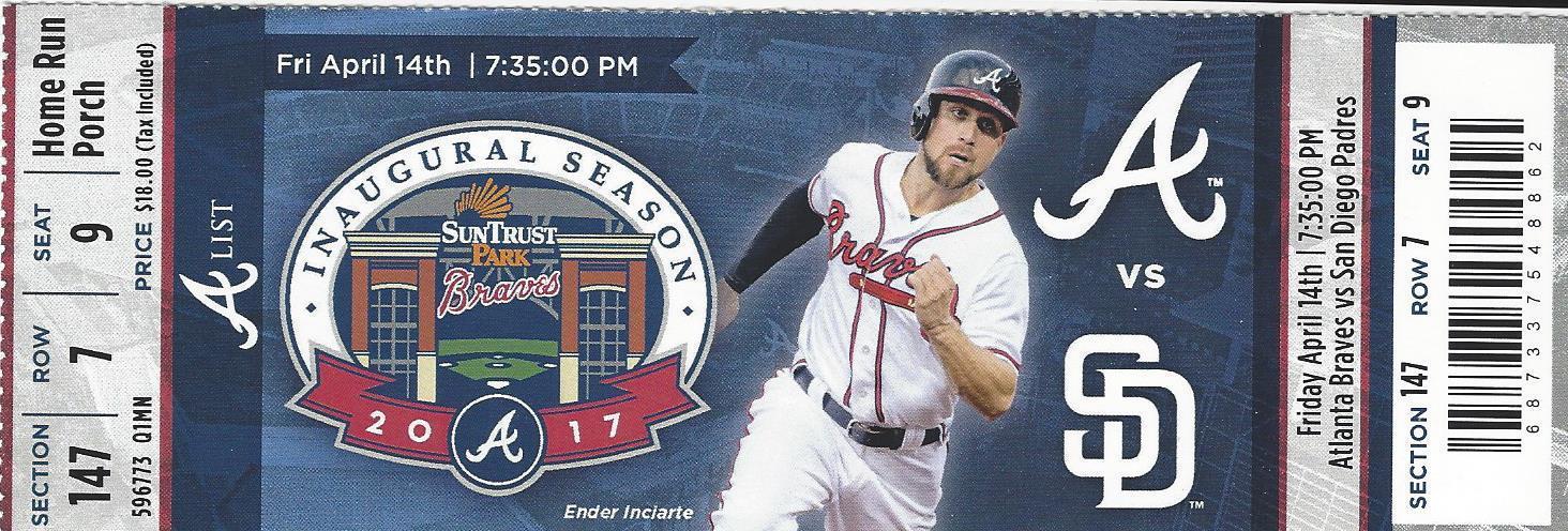 Atlanta Braves SunTrust Park First Regular Season Game Ticket 4/14/17 - Unused