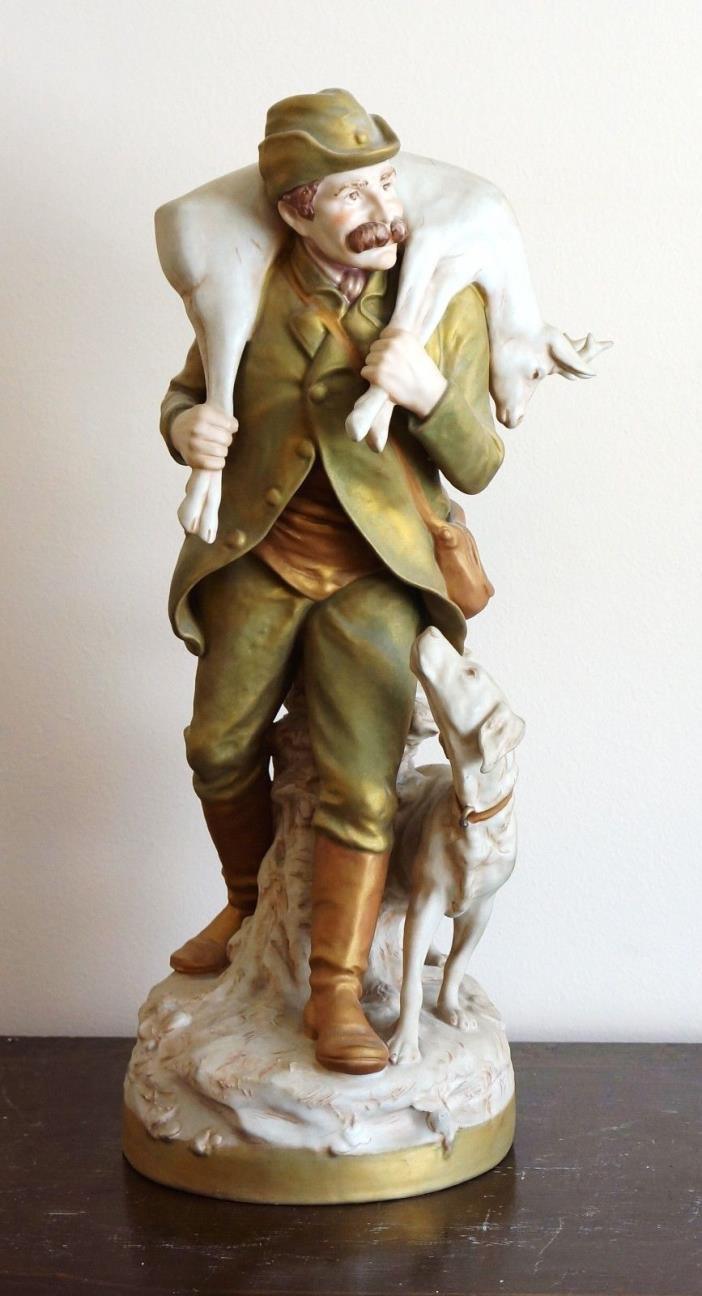 ROYAL DUX BOHEMIA PORCELAIN HUNTER WITH DOG AND DEAR ON SHOULDER 21.5' TALL