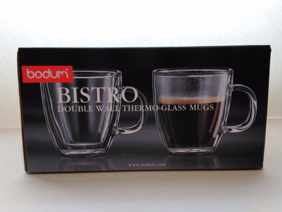 Bodum Bistro Double Wall Thermo-Glass Mug Set of 2 (15 oz) - NEW (Open Box)