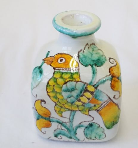 Square Pottery Vase With Bird Squash Flowers 4